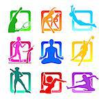 Colorful icons with fitness people silhouettes Stock Photo - Royalty-Free, Artist: sahua                         , Code: 400-04404513
