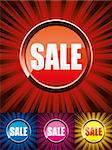 Set of colorful shiny sale buttons, vector illustration Stock Photo - Royalty-Free, Artist: MarketOlya                    , Code: 400-04404528