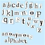 Anonymous alphabet  - white clippings on a light blue background Stock Photo - Royalty-Free, Artist: orsonsurf                     , Code: 400-04405239