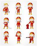 cartoon Fireman icon set