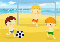 Summer time digital illustration with children having fun at seaside Stock Photo - Royalty-Freenull, Code: 400-04406428