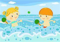 Summer time digital illustration with children having fun at seaside Stock Photo - Royalty-Freenull, Code: 400-04406430