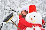 snowman and young girl Stock Photo - Royalty-Free, Artist: jordache                      , Code: 400-04406993