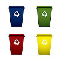 Collection of colourful recycle trash or rubbish bins Stock Photo - Royalty-Freenull, Code: 400-04407137