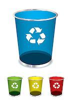 Bright glass recycle trash can icons or symbols Stock Photo - Royalty-Freenull, Code: 400-04407143