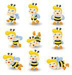 cartoon bee boy icon set Stock Photo - Royalty-Free, Artist: notkoo2008                    , Code: 400-04407144
