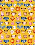 cartoon animal face seamless pattern