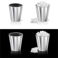 Set of Garbage can. Isolated on white and black background. Stock Photo - Royalty-Freenull, Code: 400-04407188