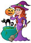 Cartoon Halloween witch with cat - vector illustration. Stock Photo - Royalty-Free, Artist: clairev                       , Code: 400-04407786