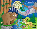 Forest scene with happy animals 1 - vector illustration.