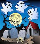Halloween scenery with cemetery 2 - vector illustration. Stock Photo - Royalty-Free, Artist: clairev                       , Code: 400-04407814