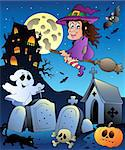 Halloween scenery with cemetery 5 - vector illustration. Stock Photo - Royalty-Free, Artist: clairev                       , Code: 400-04407817