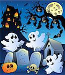 Halloween scenery with cemetery 6 - vector illustration. Stock Photo - Royalty-Free, Artist: clairev                       , Code: 400-04407818