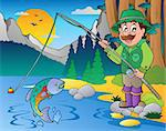 Lake with cartoon fisherman 1 - vector illustration. Stock Photo - Royalty-Free, Artist: clairev                       , Code: 400-04407822