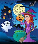 Scene with Halloween mansion 8 - vector illustration.