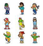cartoon hip hop boy dancing icon set