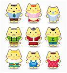 cartoon cat family icon set Stock Photo - Royalty-Free, Artist: notkoo2008                    , Code: 400-04407918
