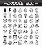 cartoon doodle eco icon set