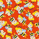 cartoon bee boy seamless pattern Stock Photo - Royalty-Free, Artist: notkoo2008                    , Code: 400-04407926
