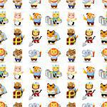 cartoon animal worker seamless pattern Stock Photo - Royalty-Free, Artist: notkoo2008                    , Code: 400-04407975