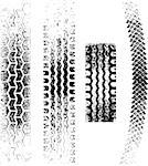 A collection of 4 Grunge tire tracks, negative and positive Stock Photo - Royalty-Free, Artist: fourleaflover                 , Code: 400-04408073