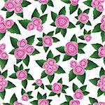 Pink vector rose seamless flower background pattern, floral vintage illustration. Cute backdrop.