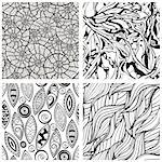 vector seamless abstract hand drawn monochrome patterns, clipping masks Stock Photo - Royalty-Free, Artist: alexmakarova                  , Code: 400-04408863