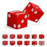 Set realistic red dice. Illustration on white background Stock Photo - Royalty-Free, Artist: dvarg                         , Code: 400-04409079