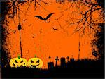 Grunge style Halloween background with spooky pumpkins Stock Photo - Royalty-Free, Artist: kirstypargeter                , Code: 400-04409209
