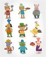 cartoon animal chef icons set Stock Photo - Royalty-Freenull, Code: 400-04409659