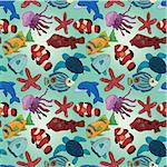 cartoon fish seamless pattern Stock Photo - Royalty-Free, Artist: notkoo2008                    , Code: 400-04409661
