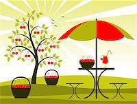 vector cherry tree, baskets of cherries and table with umbrella, Adobe Illustrator 8 format Stock Photo - Royalty-Freenull, Code: 400-04409893