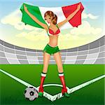 Italy girl soccer fan. illustration in vector format Stock Photo - Royalty-Free, Artist: orensila                      , Code: 400-04410373