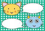 Vector of 2 cats talk with blank balloons. Stock Photo - Royalty-Free, Artist: nongpimmy                     , Code: 400-04410529