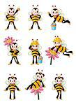 cute bee icons set Stock Photo - Royalty-Free, Artist: notkoo2008                    , Code: 400-04413544