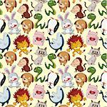 cartoon animal seamless pattern Stock Photo - Royalty-Free, Artist: notkoo2008                    , Code: 400-04413551