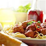 hearty spaghetti dinner Stock Photo - Royalty-Free, Artist: hojo                          , Code: 400-04414143