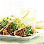 a platter of three tacos Stock Photo - Royalty-Free, Artist: hojo                          , Code: 400-04414211