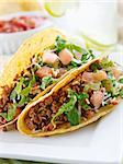 Beef tacos with lettuce cheese and tomato Stock Photo - Royalty-Free, Artist: hojo                          , Code: 400-04414212