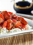 sweet and sour pork on rice Stock Photo - Royalty-Free, Artist: hojo                          , Code: 400-04414233