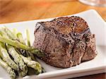 seared tenderloin steak with asparagus. Stock Photo - Royalty-Free, Artist: hojo                          , Code: 400-04414353