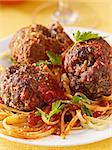 spaghetti and meatball dinner Stock Photo - Royalty-Free, Artist: hojo                          , Code: 400-04414368