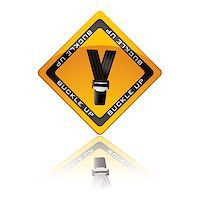Yellow warning sign with reflection for buckle up seat belt Stock Photo - Royalty-Freenull, Code: 400-04415139