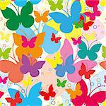 Vivid seamless background with butterflies, vector illustration Stock Photo - Royalty-Free, Artist: MarketOlya                    , Code: 400-04415660