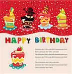 cartoon cake birthday card   Stock Photo - Royalty-Free, Artist: notkoo2008                    , Code: 400-04416164