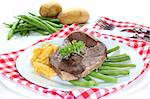 a slice of leg of lamb with green beans Stock Photo - Royalty-Free, Artist: silencefoto                   , Code: 400-04416285