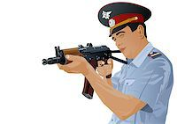 The illustration on military issues. A man in uniform ready to fire from automatic weapons Stock Photo - Royalty-Freenull, Code: 400-04416523