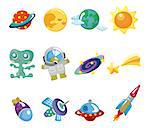 cartoon space element icons set Stock Photo - Royalty-Free, Artist: notkoo2008                    , Code: 400-04416679