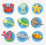 cartoon Aquarium animal icons set ,fish icons Stock Photo - Royalty-Free, Artist: notkoo2008                    , Code: 400-04418085