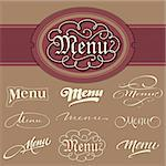set of 9 menu headlines, hand lettering collection; scalable and editable vector illustration (eps8);
